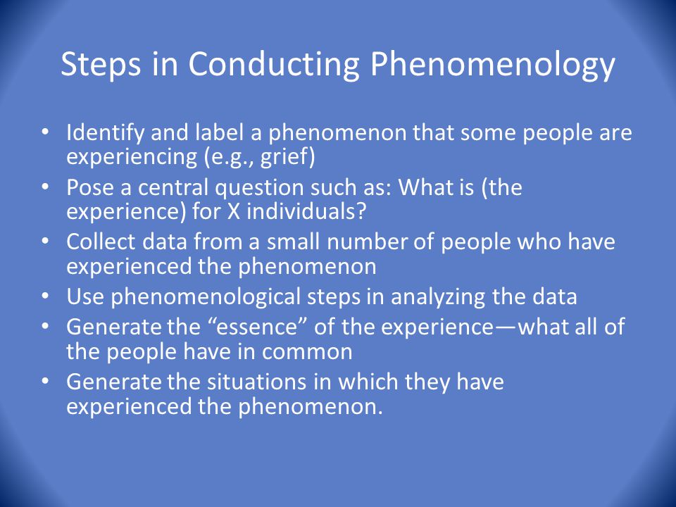 Steps in Conducting Phenomenology