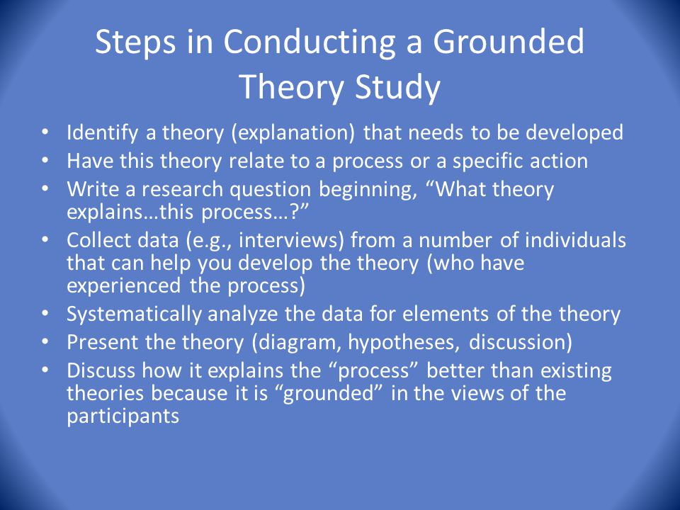 Steps in Conducting a Grounded Theory Study