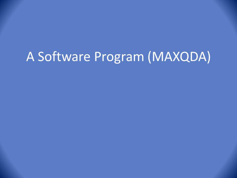 A Software Program (MAXQDA)
