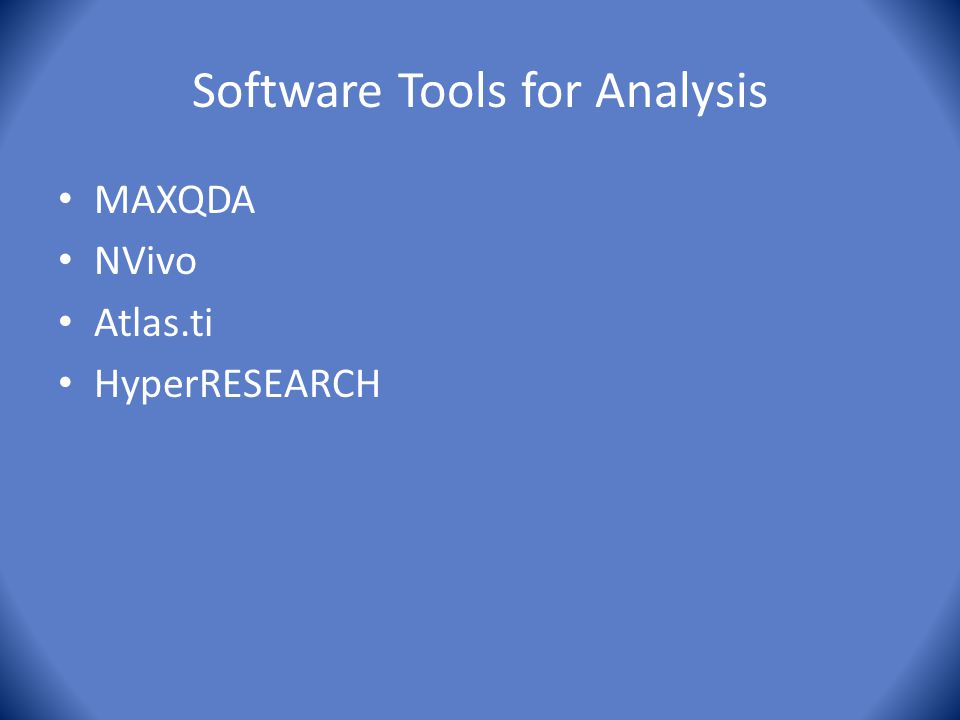 Software Tools for Analysis