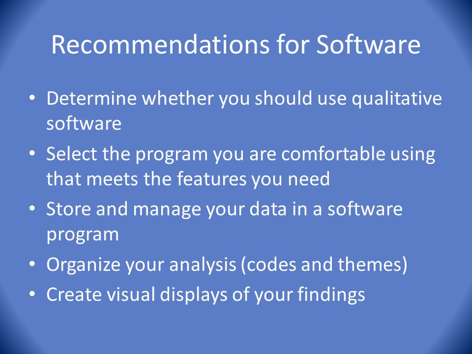 Recommendations for Software