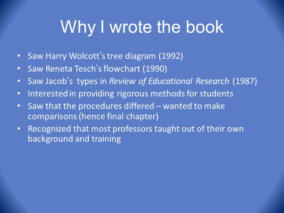Why I wrote the book Saw Harry Wolcott's tree diagram (1992)
