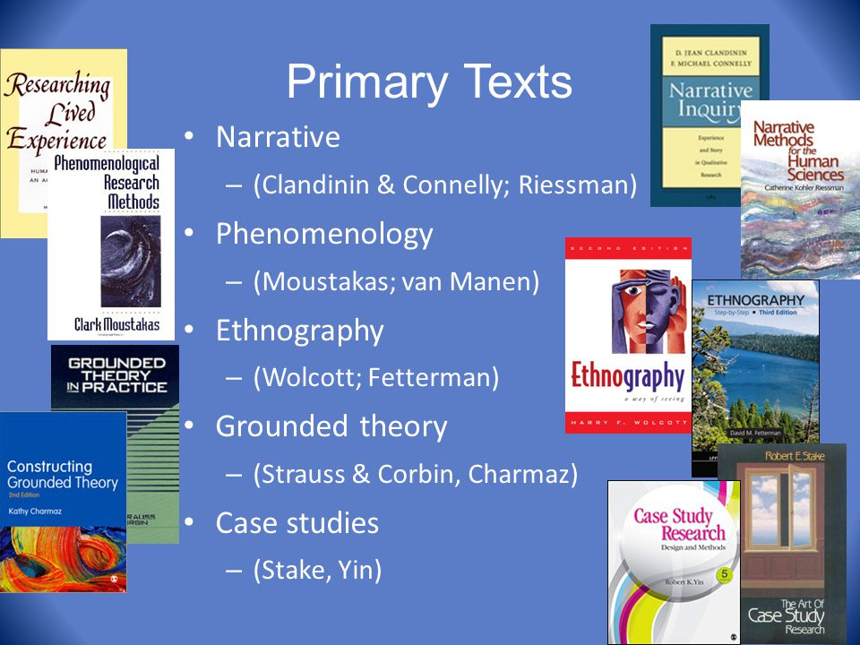 Primary Texts Narrative Phenomenology Ethnography Grounded theory