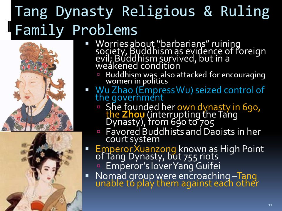 Tang Dynasty Religious & Ruling Family Problems