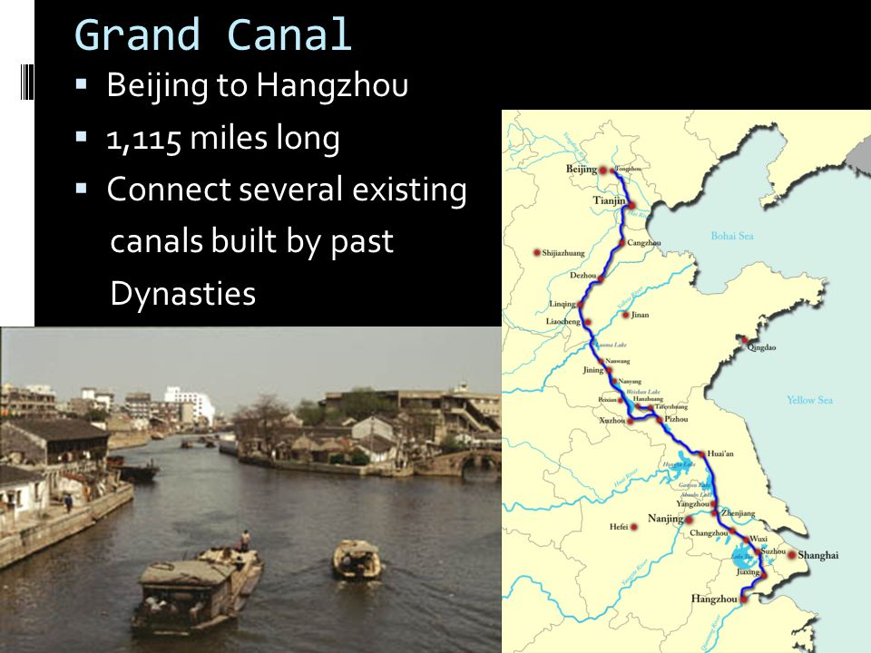 Grand Canal Beijing to Hangzhou 1,115 miles long