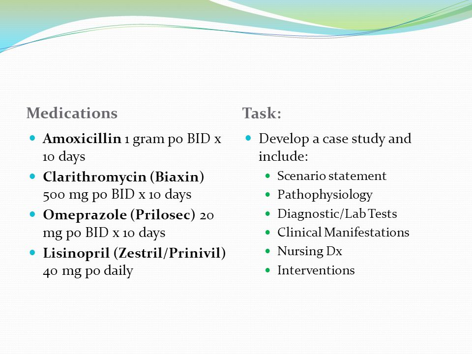 Medications Task: Amoxicillin 1 gram po BID x 10 days