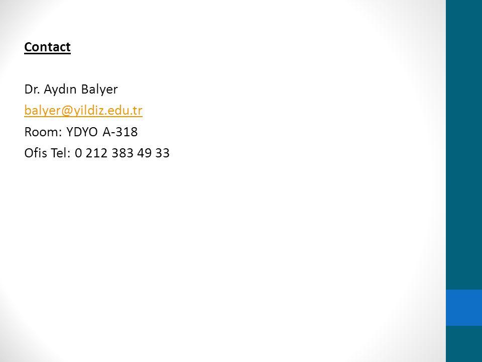 Contact Dr. Aydın Balyer balyer@yildiz. edu