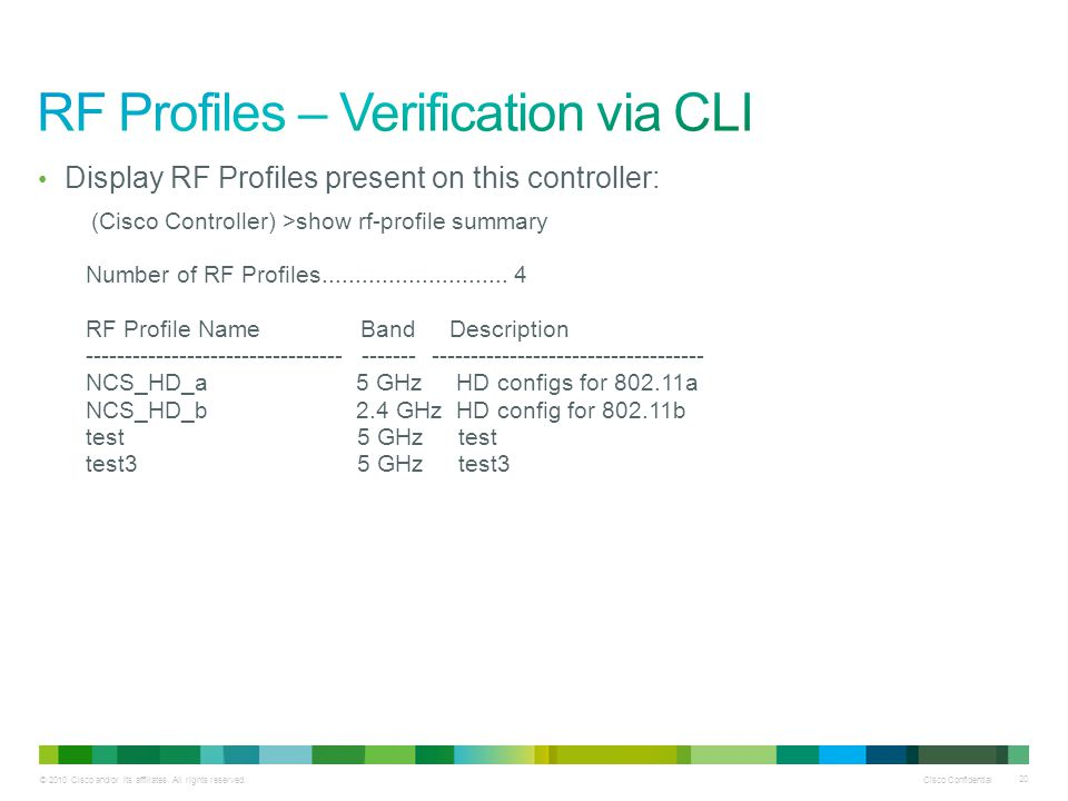 RF Profiles – Verification via CLI