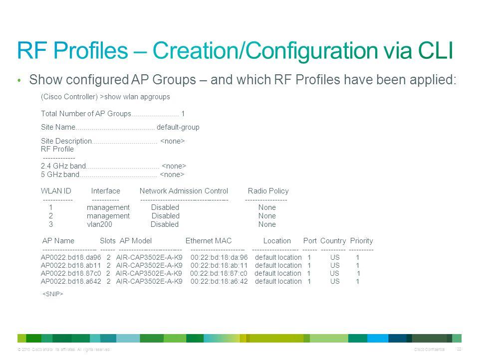 RF Profiles – Creation/Configuration via CLI