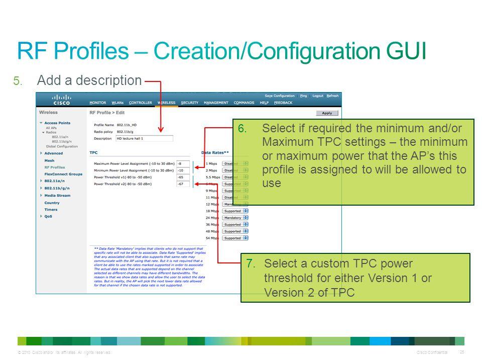 RF Profiles – Creation/Configuration GUI