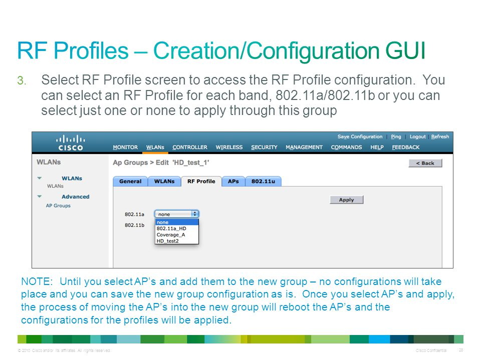 RF Profiles – Creation/Configuration GUI