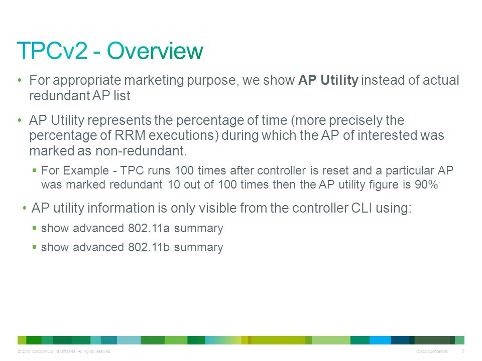 TPCv2 - Overview For appropriate marketing purpose, we show AP Utility instead of actual redundant AP list.