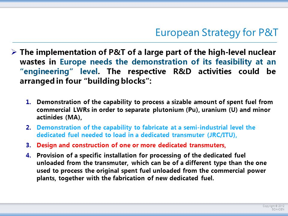 European Strategy for P&T