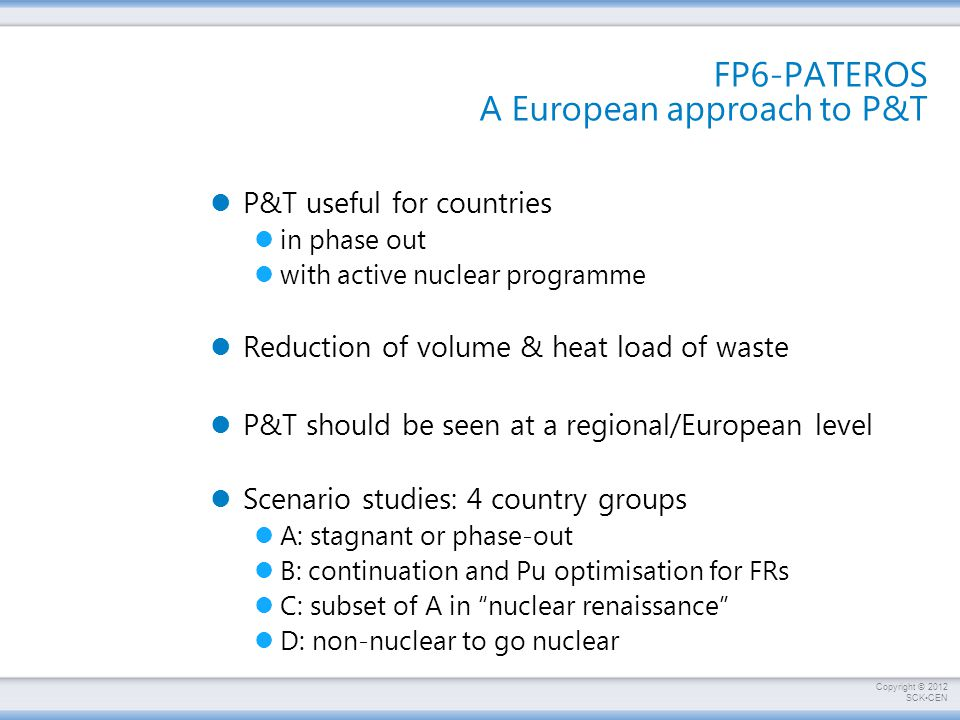 FP6-PATEROS A European approach to P&T
