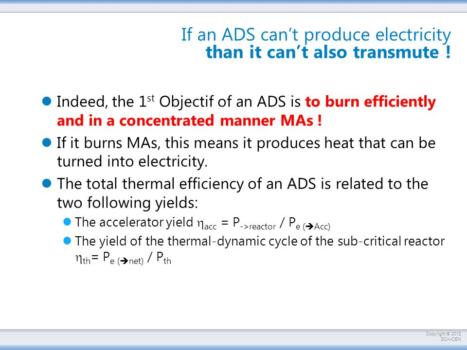 If an ADS can't produce electricity than it can't also transmute !