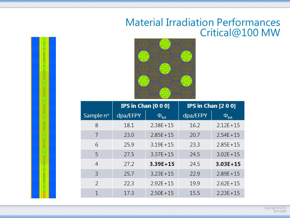 Material Irradiation Performances Critical@100 MW
