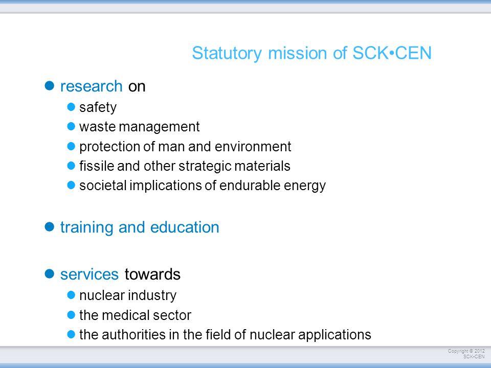Statutory mission of SCK•CEN