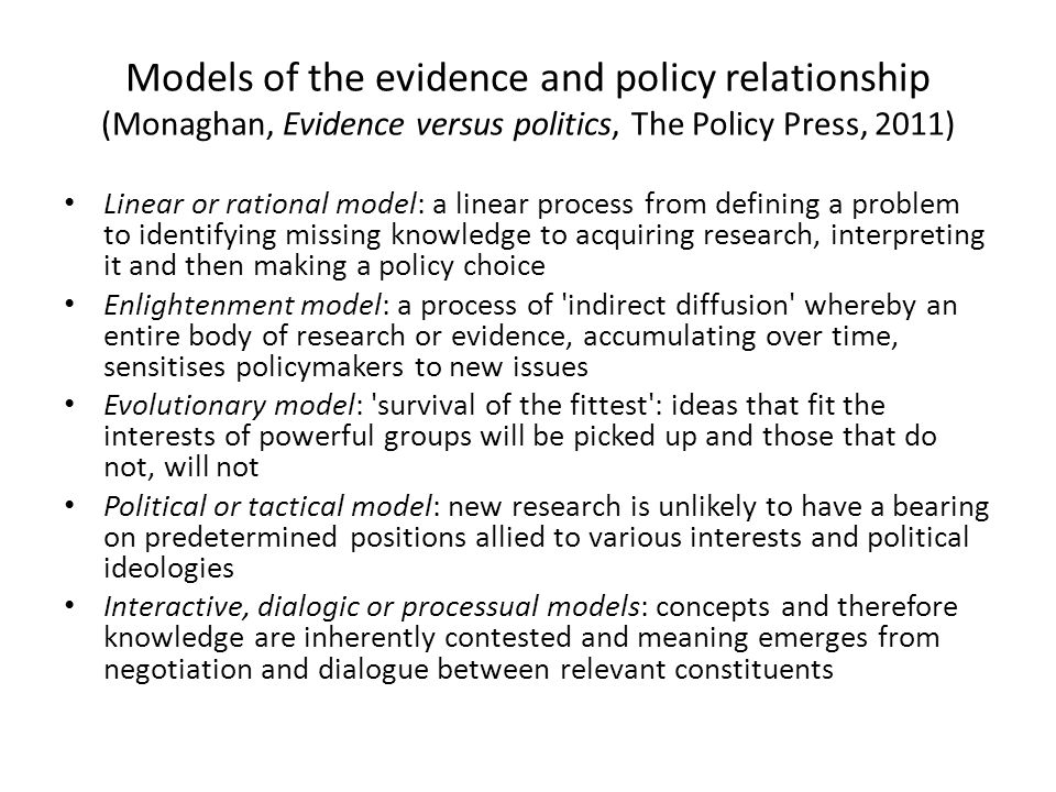 Models of the evidence and policy relationship (Monaghan, Evidence versus politics, The Policy Press, 2011)