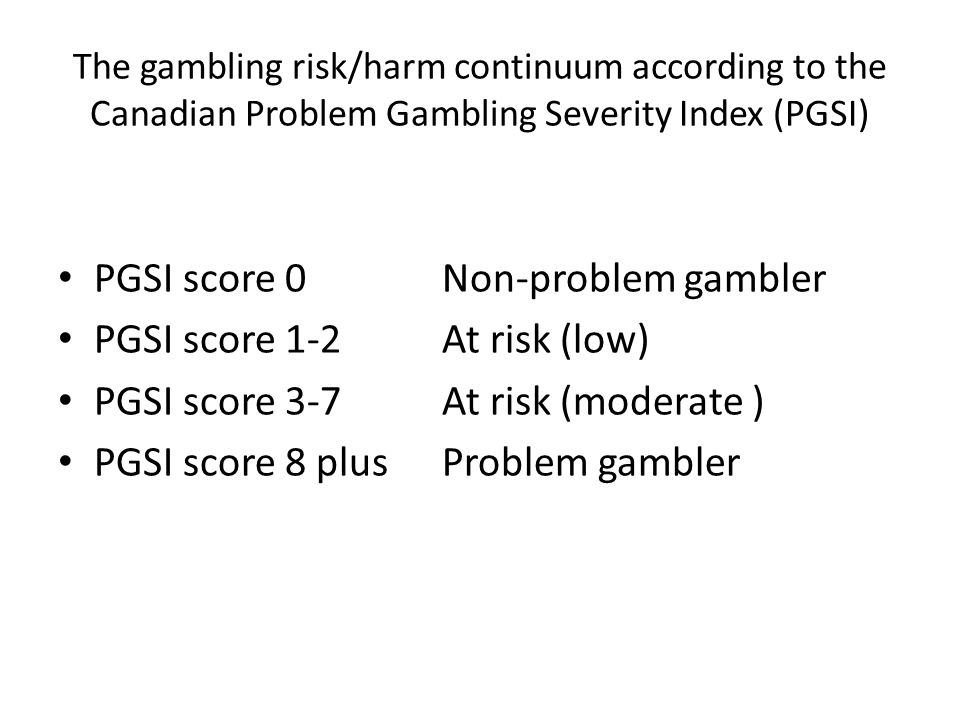 PGSI score 0 Non-problem gambler PGSI score 1-2 At risk (low)
