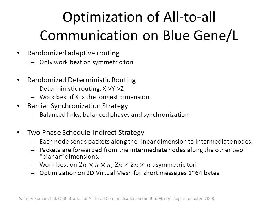 Optimization of All-to-all Communication on Blue Gene/L