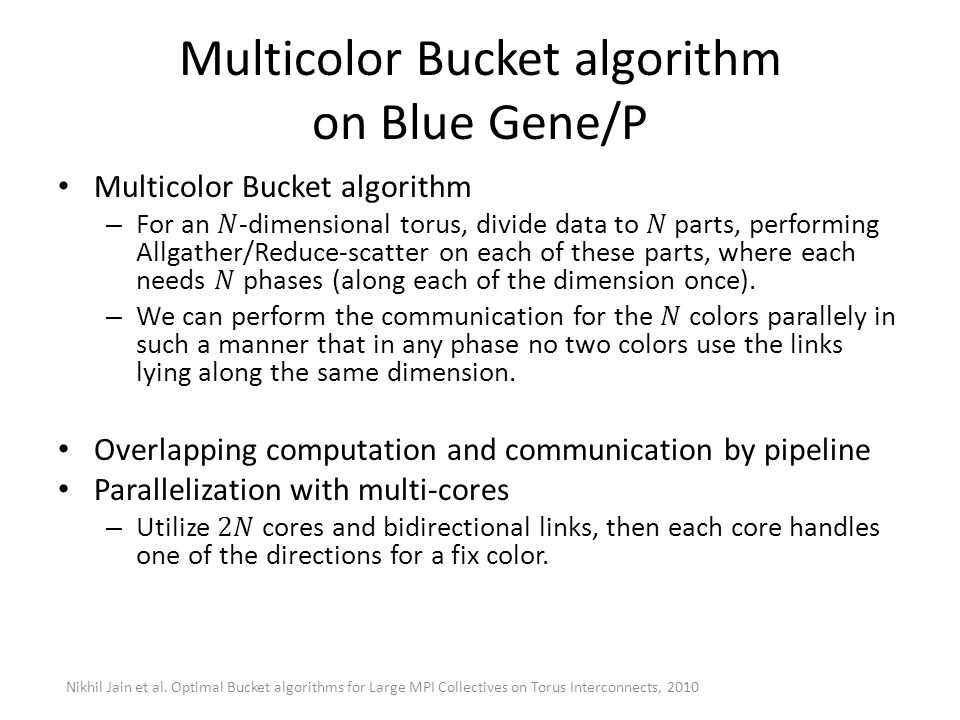 Multicolor Bucket algorithm on Blue Gene/P