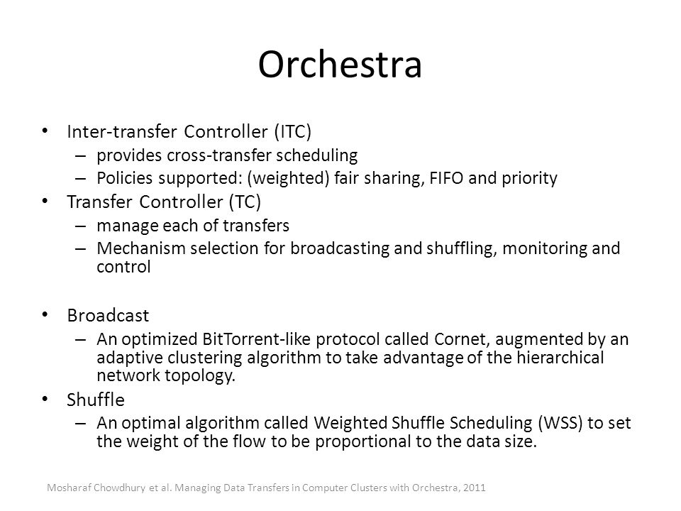 Orchestra Inter-transfer Controller (ITC) Transfer Controller (TC)