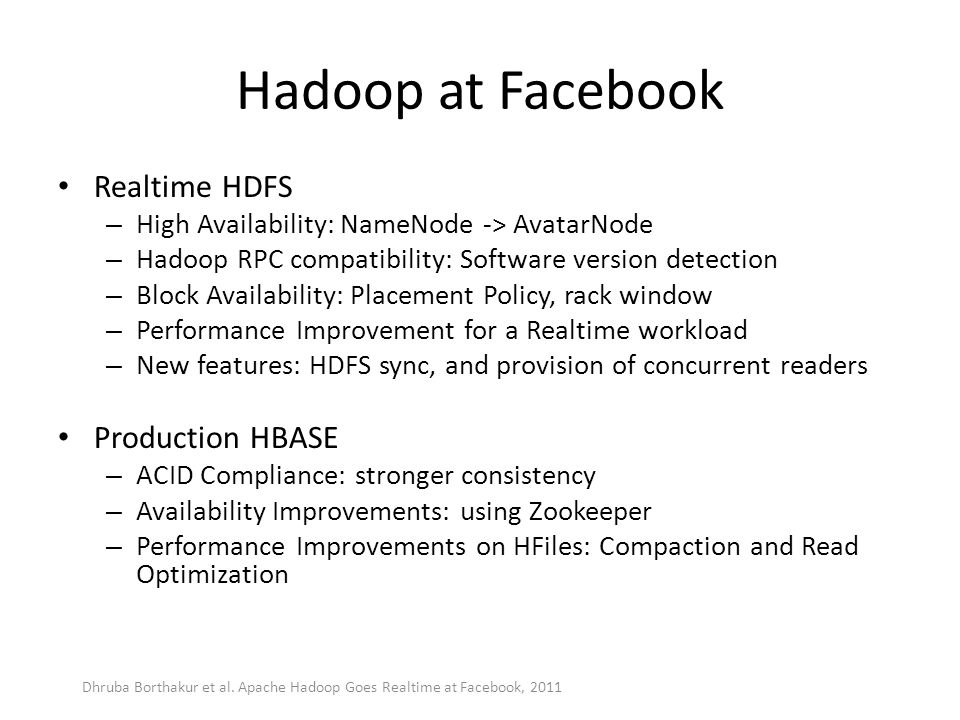 Hadoop at Facebook Realtime HDFS Production HBASE