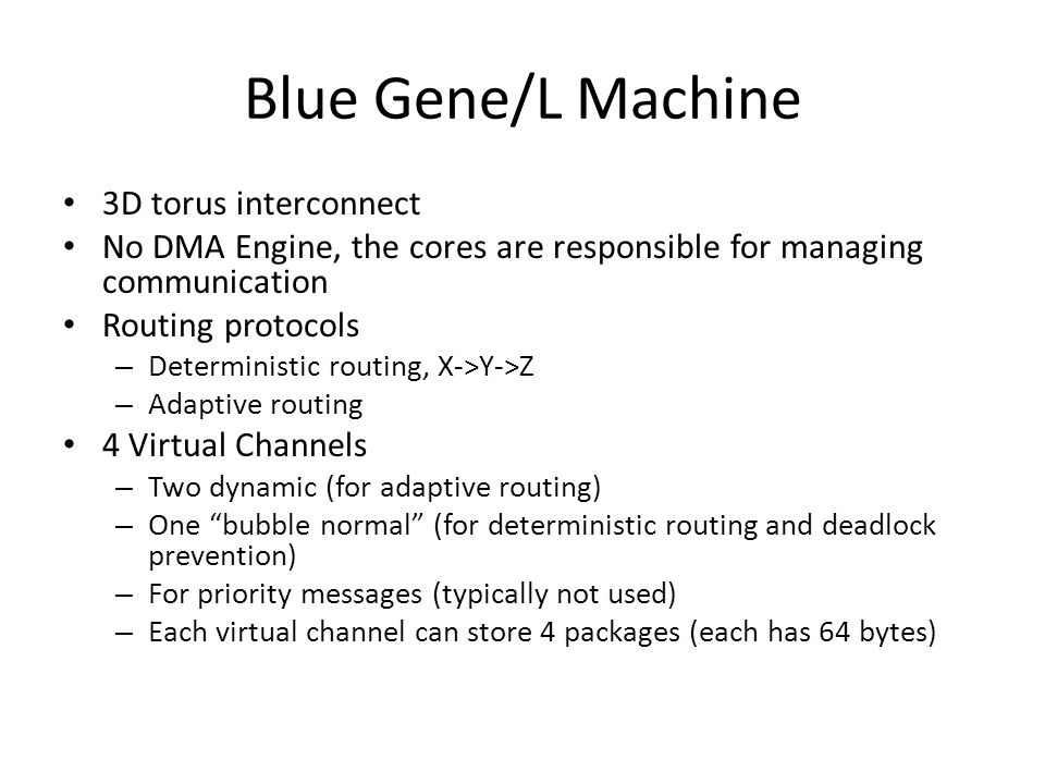 Blue Gene/L Machine 3D torus interconnect