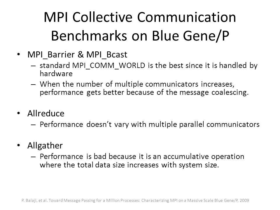 MPI Collective Communication Benchmarks on Blue Gene/P