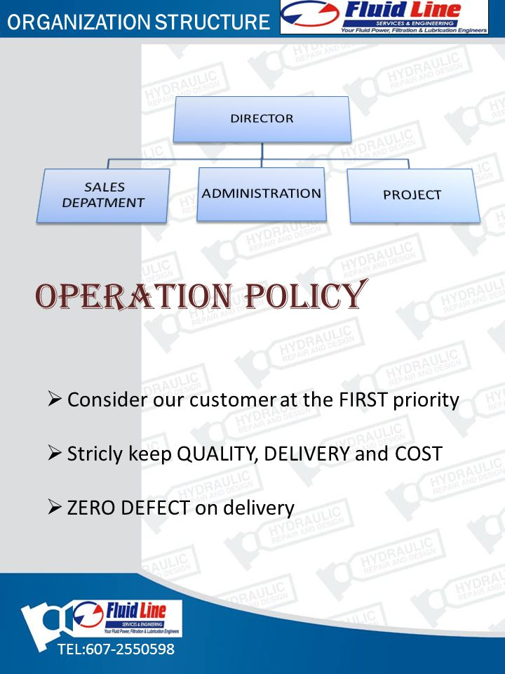 OPERATION POLICY ORGANIZATION STRUCTURE