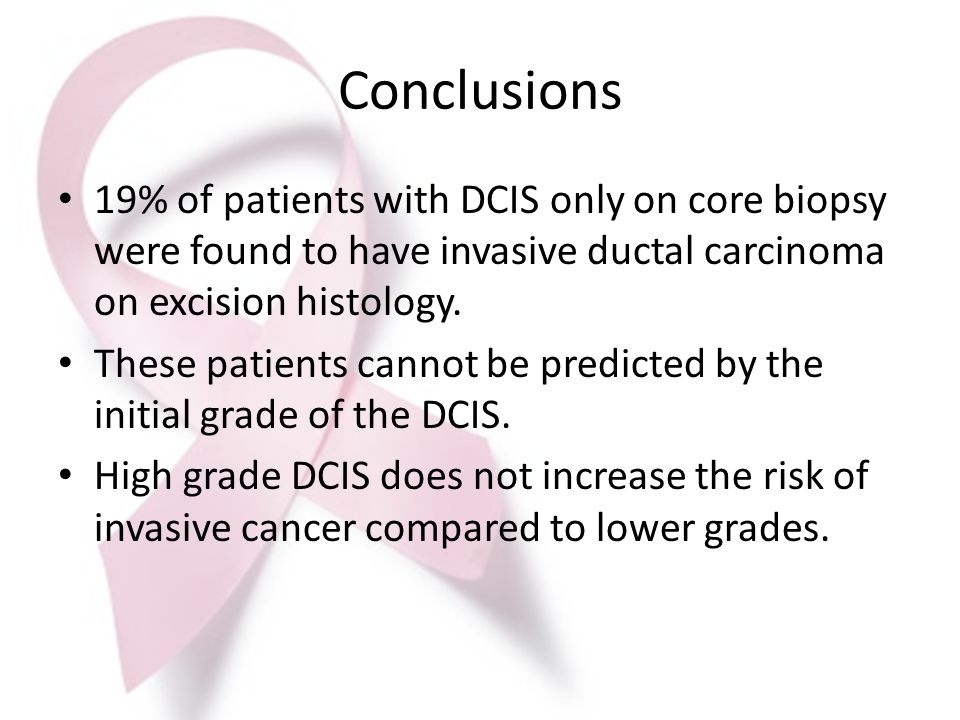 Conclusions 19% of patients with DCIS only on core biopsy were found to have invasive ductal carcinoma on excision histology.