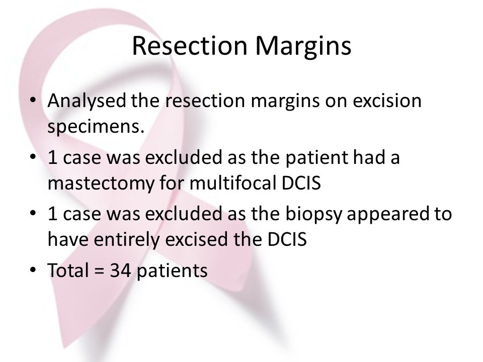 Resection Margins Analysed the resection margins on excision specimens. 1 case was excluded as the patient had a mastectomy for multifocal DCIS.