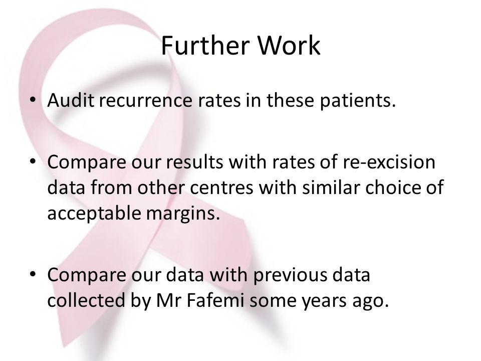Further Work Audit recurrence rates in these patients.