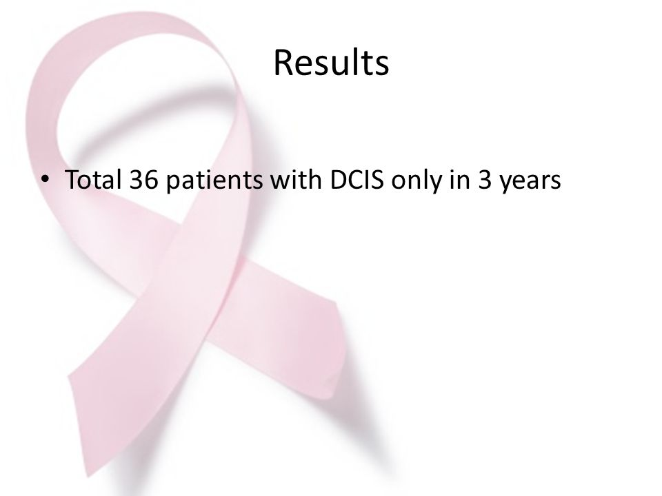 Results Total 36 patients with DCIS only in 3 years