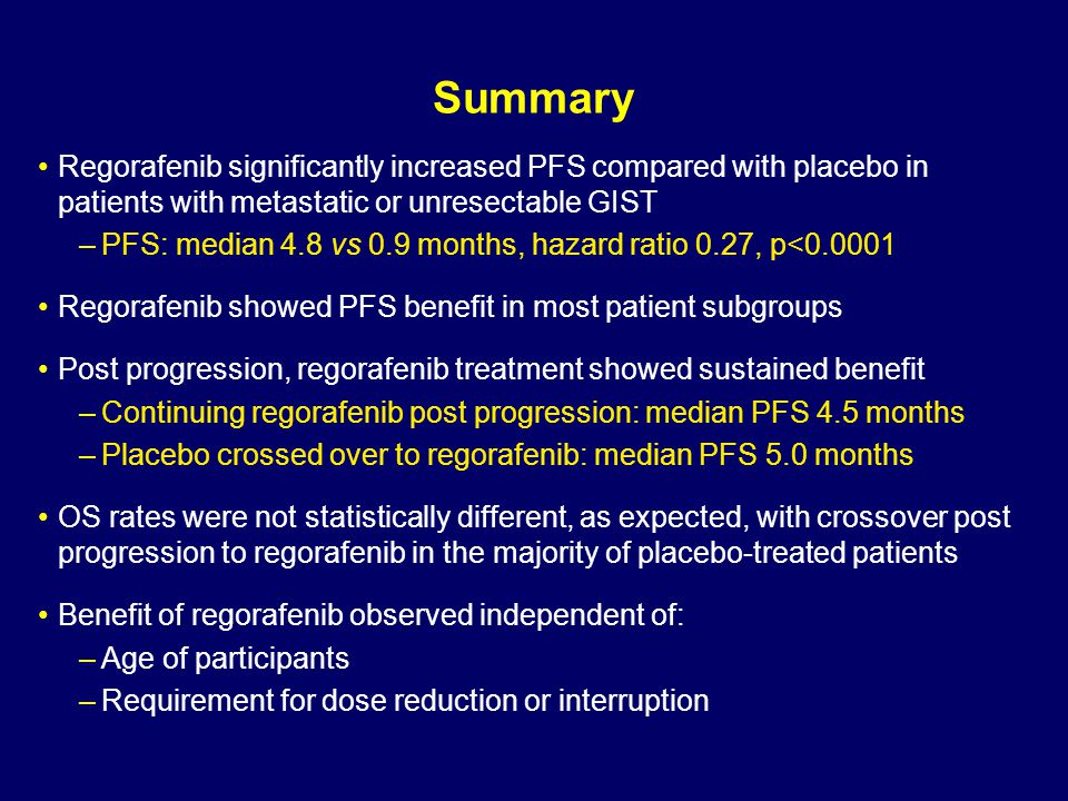 Summary Regorafenib significantly increased PFS compared with placebo in patients with metastatic or unresectable GIST.