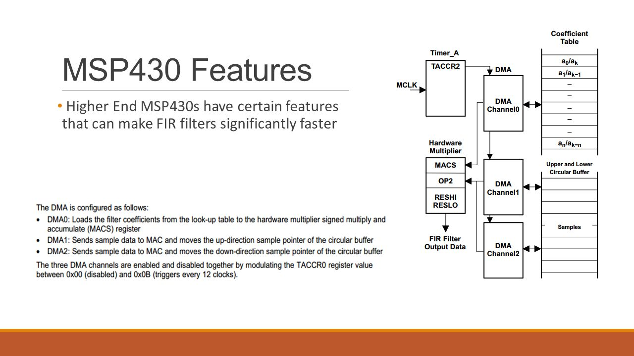 MSP430 Features Higher End MSP430s have certain features that can make FIR filters significantly faster.