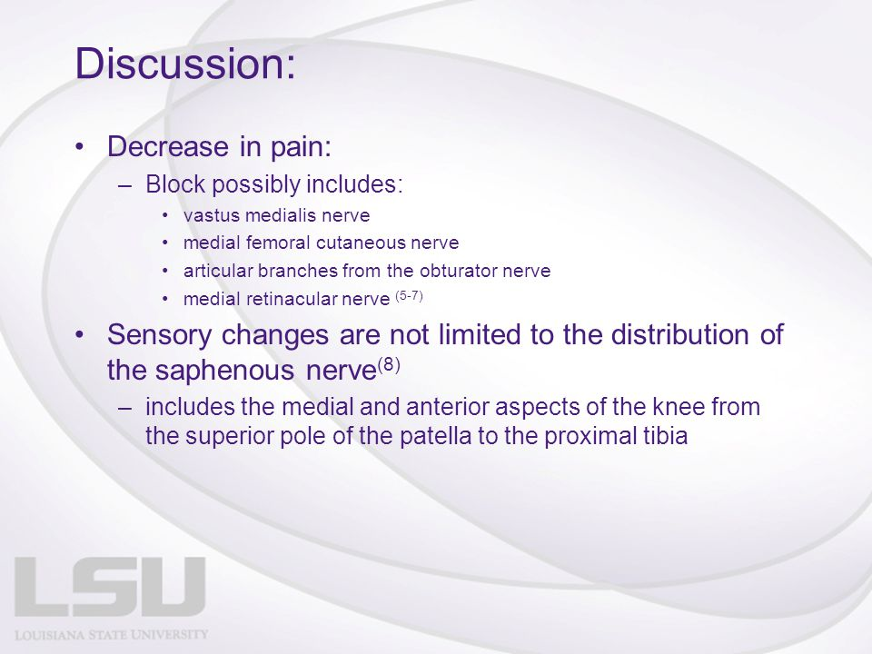 Discussion: Decrease in pain: