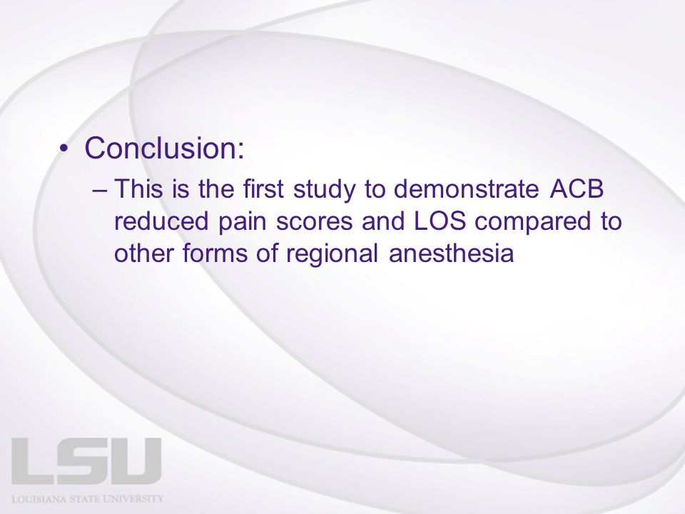 Conclusion: This is the first study to demonstrate ACB reduced pain scores and LOS compared to other forms of regional anesthesia.