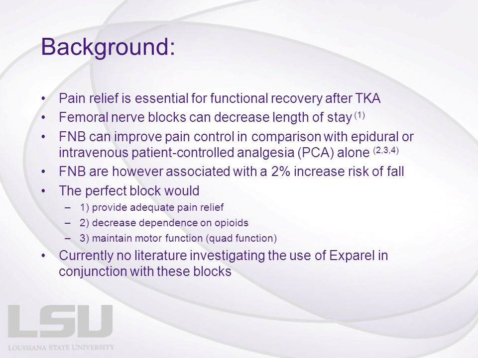 Background: Pain relief is essential for functional recovery after TKA