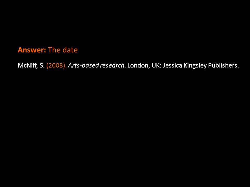 Answer: The date McNiff, S. (2008). Arts-based research. London, UK: Jessica Kingsley Publishers.