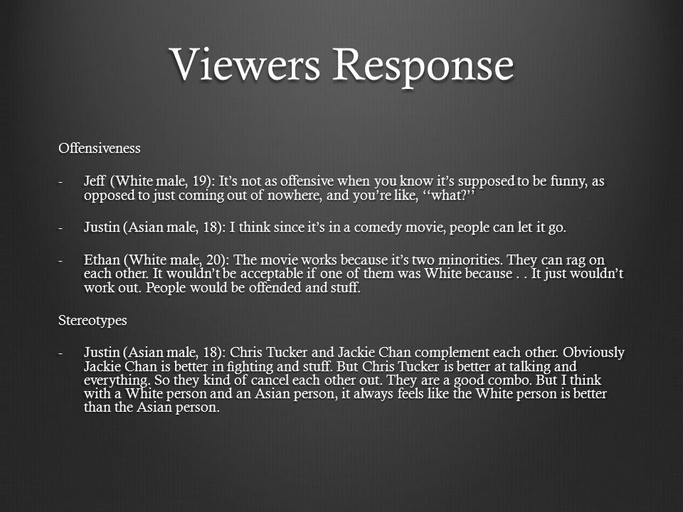 Viewers Response Offensiveness