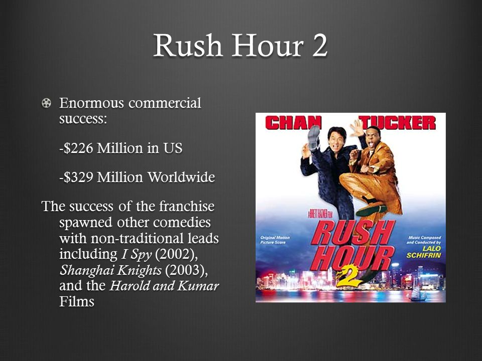 Rush Hour 2 Enormous commercial success: -$226 Million in US