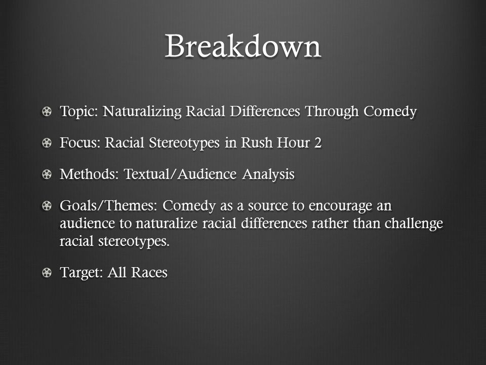 Breakdown Topic: Naturalizing Racial Differences Through Comedy