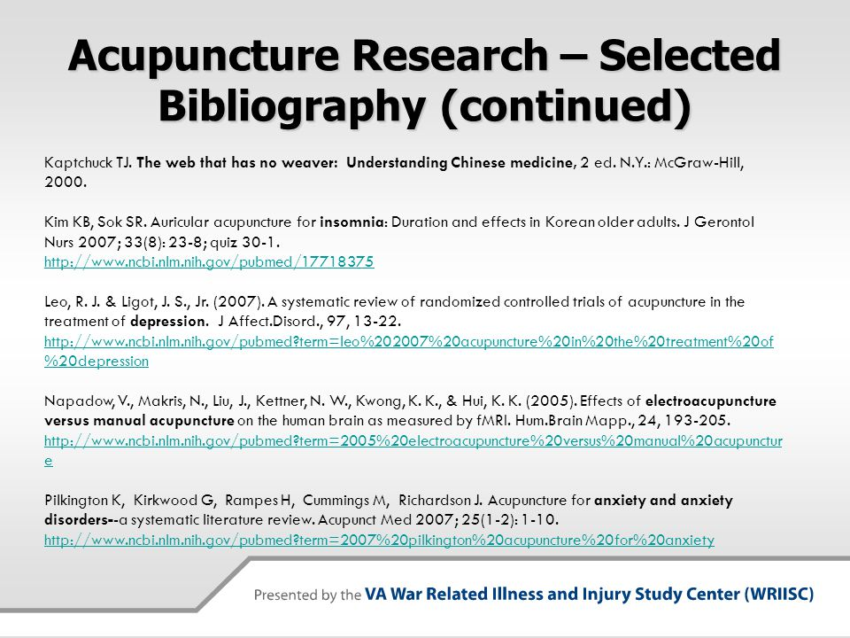 Acupuncture Research – Selected Bibliography (continued)