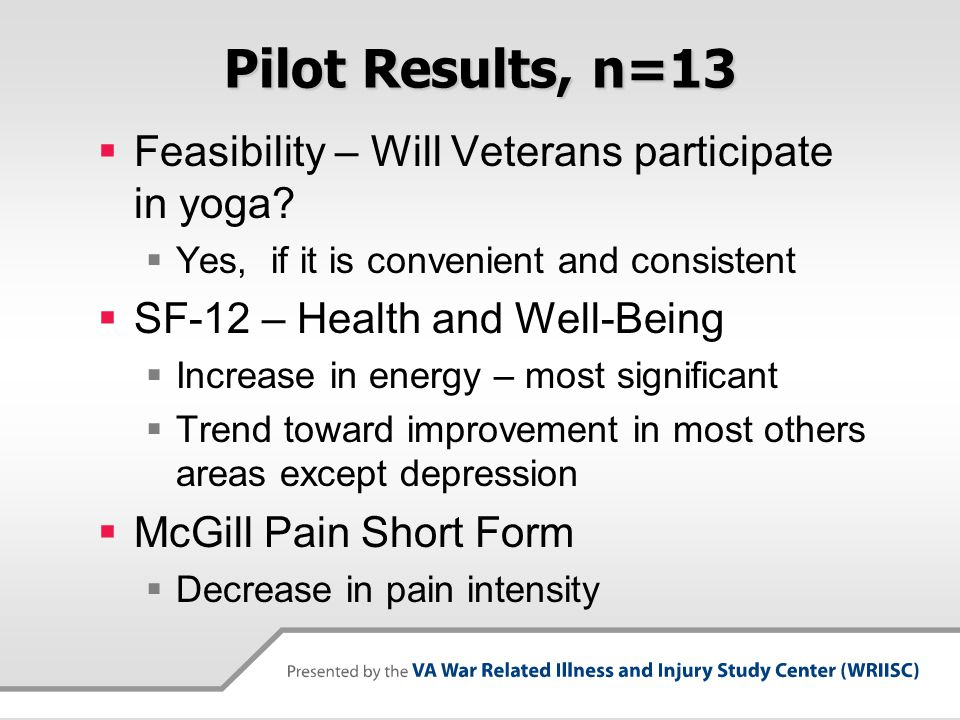 Pilot Results, n=13 Feasibility – Will Veterans participate in yoga