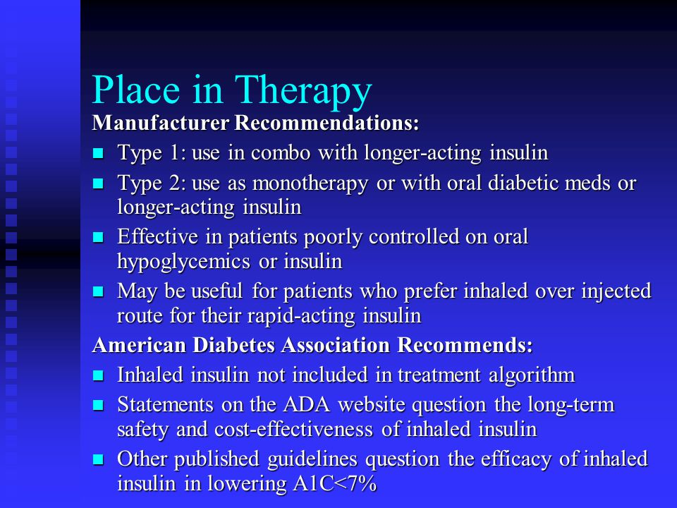 Place in Therapy Manufacturer Recommendations: