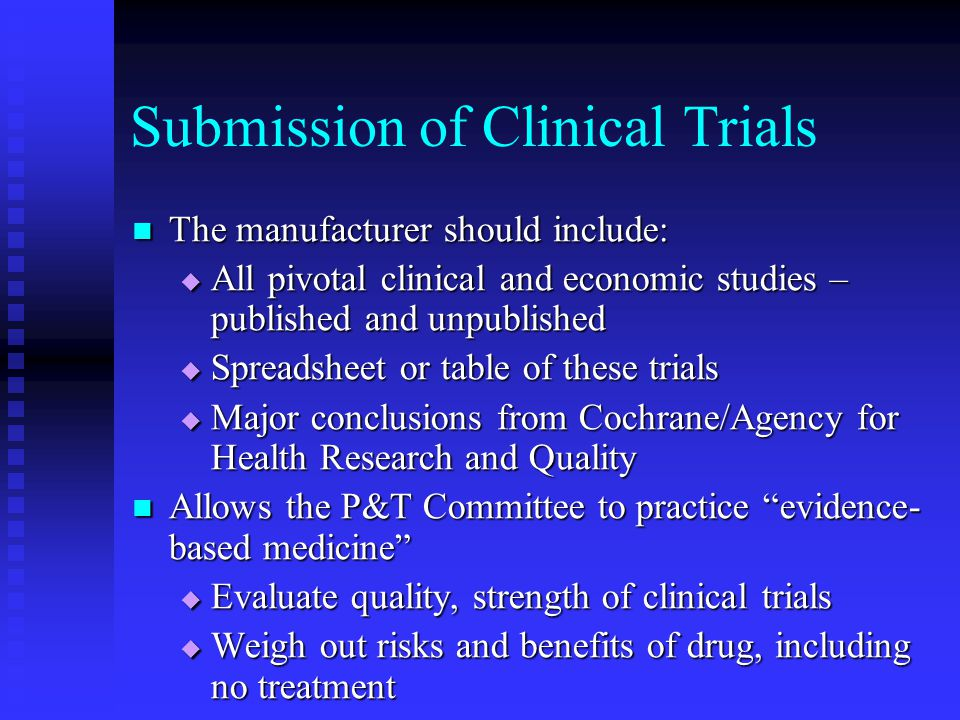 Submission of Clinical Trials