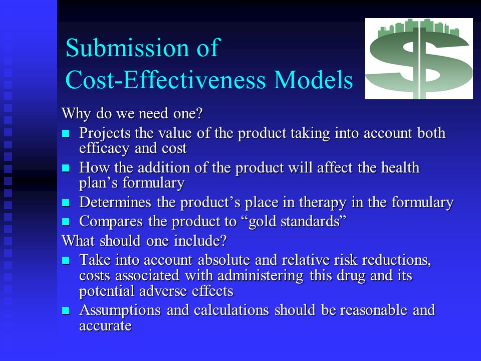 Submission of Cost-Effectiveness Models