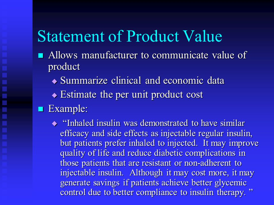 Statement of Product Value
