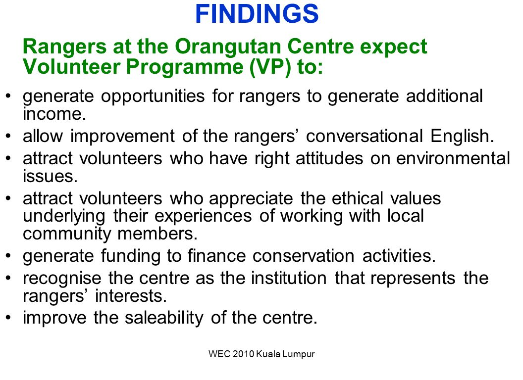 FINDINGS Rangers at the Orangutan Centre expect Volunteer Programme (VP) to: generate opportunities for rangers to generate additional income.